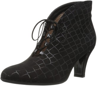 BeautiFeel Women's Harriet Pump Black Crocco Print Suede 350 Medium EU (4 US)