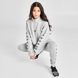 adidas Women's Repeat Trefoil Quarter-Zip Crop Sweatshirt