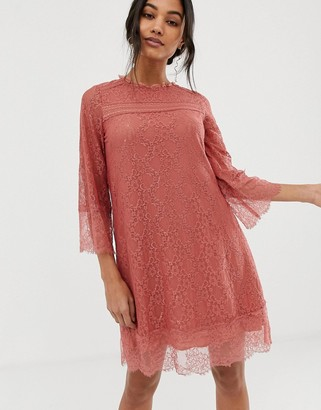 Hazel Teracotta Lace Shift Dress