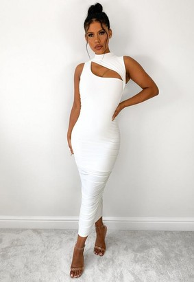 Missguided Cream Slinky High Neck Cut Out Midaxi Dress