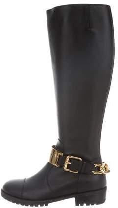 Giuseppe Zanotti Round-Toe Chain-Link Knee-High Boots