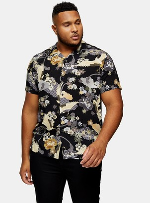Topman BIG & TALL Black Crane Print Shirt*