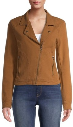 Time and Tru - Time and Tru Women's Casual Knit Moto Jacket - Walmart.com