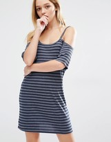 Daisy Street Cold Shoulder T-Shirt Dress In Stripe