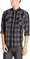 Modern Culture Men's Reed Textured Plaid Shirt with Metal Rivets