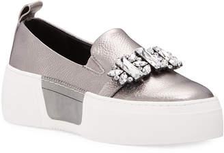 Karl Lagerfeld Paris Lamirra Crystal-Embellished Metallic Leather Platform Sneakers