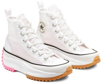 Converse concrete run star hike hi sneakers in white and pink