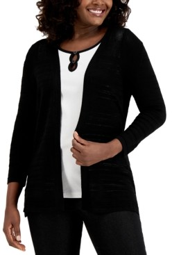 Karen Scott Pointelle-Knit Open Cardigan, Created for Macy's