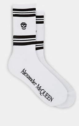 Alexander McQueen Men's Skull-Knit Cotton-Blend Mid-Calf Socks - White