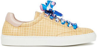 Emilio Pucci Leather-trimmed Printed Twill And Woven Raffia Sneakers