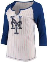 New Era Women's 5th & Ocean by White/Royal New York Mets Pinstripe 3/4-Sleeve Notch Neck Raglan T-Shirt