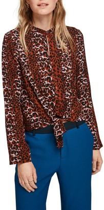 Scotch & Soda Leopard Print Tie Front Blouse