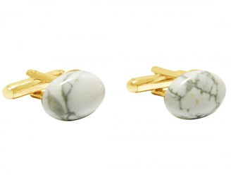 Gemshine - Cufflinks - 18k gold plated - Howlite Gemstone - 16mm - White - Grey