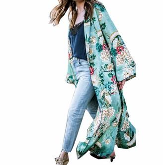 Tuduz Outerwear TUDUZ Women's Bohemia Floral Tassel Flare Sleeve Long Kimono Shawl Oversized Open Front Loose Cardigan Coat Tops(Green 3XL)