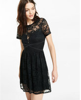 Express all-over lace fit and flare dress