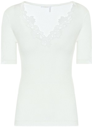 Chloé Lace-trimmed ribbed-knit cotton top