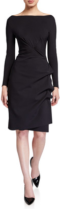 Chiara Boni Cassandre Boat-Neck Long-Sleeve Gathered Dress