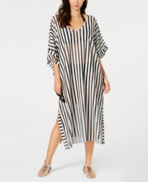 Calvin Klein Striped Maxi Caftan Cover-Up Women's Swimsuit