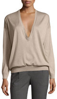 Brunello Cucinelli Deep V-Neck Cashmere-Blend Sweater, Stone