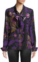 Roberto Cavalli Floral-Print Silk Tie-Neck Blouse