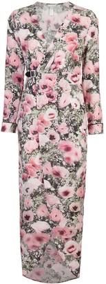 Fleur Du Mal Poppy Print Wrap Maxi Dress