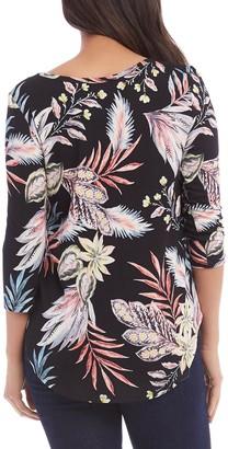 Karen Kane Tropical Print 3/4 Sleeve Top