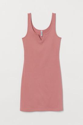 H&M Ribbed Jersey Dress - Pink