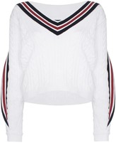 Y/Project V-neck twisted trim cable-knitted jumper