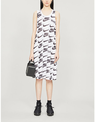 Black Comme des Garcons x Nike logo-print jersey midi dress