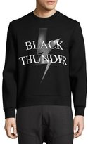 Neil Barrett Black Thunder Side-Zip Neoprene Sweatshirt, Black