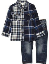 River Island Mini boys blue mixed check shirt jeans set