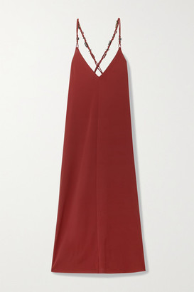 Eres Bead-embellished Stretch-jersey Maxi Dress - Claret
