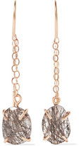 Melissa Joy Manning 14-Karat Gold Tourmalated Quartz Earrings