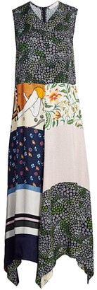 See by Chloe Patchwork Print Sleeveless Maxi Handkerchief Dress