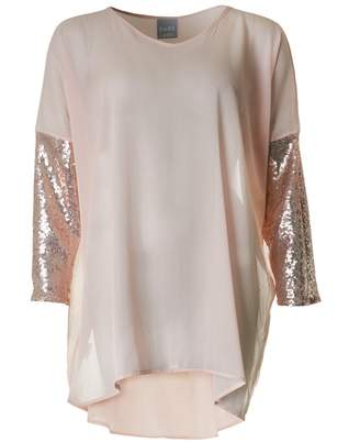 Dare Label Chiffon Sequinned Sleeve Top Colour: BLUSH, Size: One Size