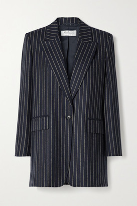 Max Mara Leccio Pinstriped Wool And Cashmere-blend Blazer - Midnight blue