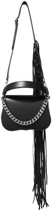 Calvin Klein Fringed Chain-trimmed Leather Shoulder Bag