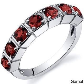 Oravo Sterling Silver Round Prong-set Gemstone Fashion Ring