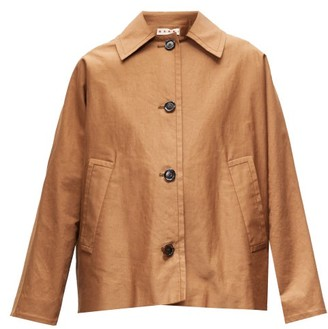 Marni Oversized Gathered-yoke Cotton-blend Twill Jacket - Brown