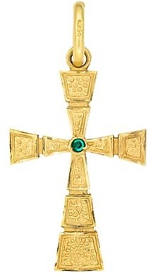 Stephanie Windsor Vintage 18K Yellow Gold Textured Cross Pendant