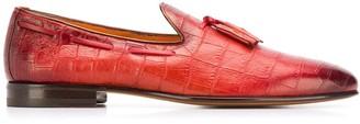 Santoni crocodile effect loafers