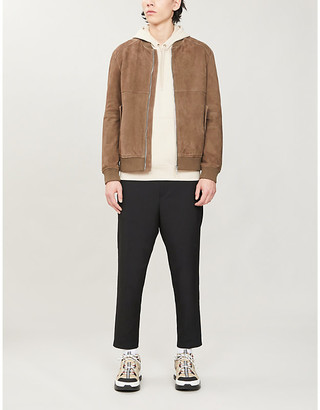 HUGO Collared suede bomber jacket