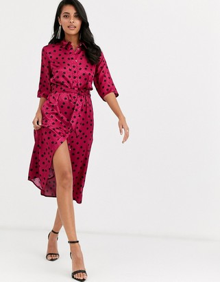 Closet London shirt dress in oversized splodge print in fuchsia and black