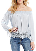 Moa Moa Lace-Trimmed Smocked Chiffon Off-the-Shoulder Tie-Sleeve Top