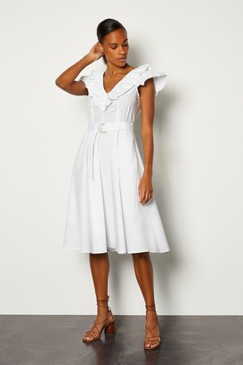 Karen Millen Cotton Poplin Ruffle Belted Dress