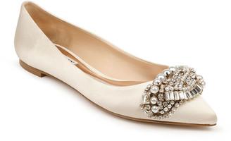 Badgley Mischka Octavia Satin Embellished Ballet Flats