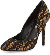 Charles by Charles David Parker Lace/Cork Pointed-Toe Pump, Black