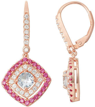 FINE JEWELRY Lab-Created Aquamarine & Ruby Diamond Accent 14K Rose Gold Over Silver Leverback Earrings