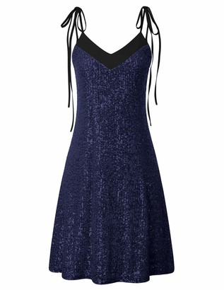 Liumilac Women Glitter Evening Party Dresses V-Neck V-Back Sequin Skirt Cocktail 26-1 L