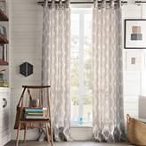 west elm Ikat Ogee Linen Curtain - Ivory/Platinum
